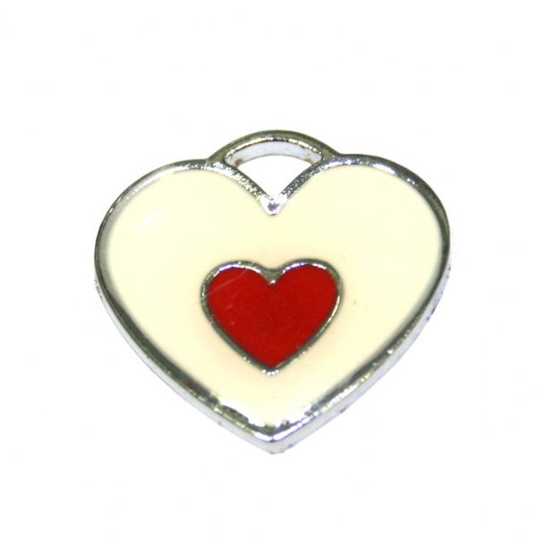1 x 20*19mm rhodium plated double heart enamel charm - cream with red little heart- SD03 - CHE1221